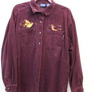 Disney Women's Pooh Long  Corduroy Shirt Size XL